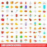 100 lunch icons set, cartoon style Royalty Free Stock Image