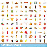 100 lunch icons set, cartoon style. 100 lunch icons set in cartoon style for any design vector illustration Royalty Free Stock Photo