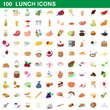 100 lunch icons set, cartoon style. 100 lunch icons set in cartoon style for any design vector illustration vector illustration