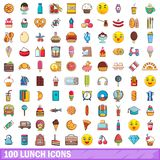100 lunch icons set, cartoon style. 100 lunch icons set. Cartoon illustration of 100 lunch vector icons isolated on white background Royalty Free Stock Photos