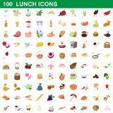100 lunch icons set, cartoon style. 100 lunch icons set in cartoon style for any design illustration vector illustration