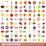100 lunch icons set, flat style Royalty Free Stock Photo