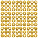 100 lunch icons set gold. 100 lunch icons set in gold circle isolated on white vector illustration stock illustration