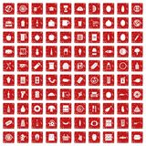 100 lunch icons set grunge red. 100 lunch icons set in grunge style red color isolated on white background vector illustration stock illustration