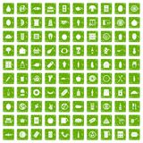 100 lunch icons set grunge green. 100 lunch icons set in grunge style green color isolated on white background vector illustration vector illustration