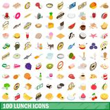100 lunch icons set, isometric 3d style. 100 lunch icons set in isometric 3d style for any design illustration royalty free illustration