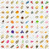100 lunch icons set, isometric 3d style Royalty Free Stock Photos