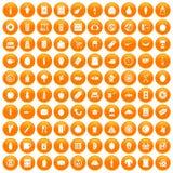 100 lunch icons set orange. 100 lunch icons set in orange circle isolated on white vector illustration royalty free illustration