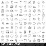 100 lunch icons set, outline style Stock Photo