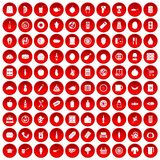 100 lunch icons set red. 100 lunch icons set in red circle isolated on white vector illustration Royalty Free Stock Photo