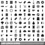 100 lunch icons set, simple style Stock Photography