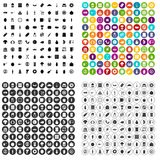 100 lunch icons set vector variant. 100 lunch icons set vector in 4 variant for any web design isolated on white stock illustration