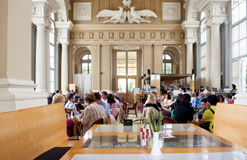 Lunch inside the historical cafe at the bright day Royalty Free Stock Photos