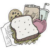 Lunch Items. An image of lunch items vector illustration