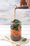 Lunch in a jar - soba noodles Royalty Free Stock Photo