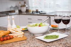 Lunch laid out on the counter Royalty Free Stock Photos