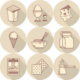 Lunch line icons Stock Photo
