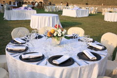 Lunch marriage location laid table Royalty Free Stock Images