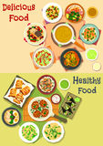 Lunch meals icon set for food theme design Stock Photos