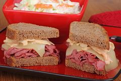 Lunch Meat and Cheese Sandwich Royalty Free Stock Photography