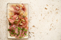 Lunch Meat or Cold Cuts in Rectangular Plate Stock Photos
