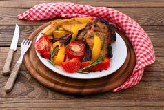 Lunch meat with vegetables, horizontally Stock Photography