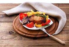 Lunch meat with vegetables, horizontally Royalty Free Stock Image