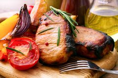 Lunch meat with vegetables, horizontally Stock Images