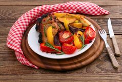 Lunch meat with vegetables, horizontally Royalty Free Stock Photo