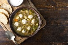 Lunch of meatball soup royalty free stock images