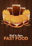 Lunch med den franska småfisk-, hamburgare- och sodavattentakeawayen Snabbmataffisch också vektor för coreldrawillustration stock illustrationer