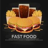 Lunch med den fransmansmåfisk-, hamburgare- och sodavattentakeawayen på isolerad bakgrund Skjutit i en studio också vektor för co royaltyfri illustrationer