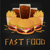 Lunch med den fransmansmåfisk-, hamburgare- och sodavattentakeawayen på isolerad bakgrund Skjutit i en studio också vektor för co stock illustrationer
