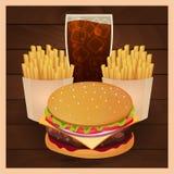 Lunch med den fransmansmåfisk-, hamburgare- och sodavattentakeawayen på isolerad bakgrund Trä texturerar Skjutit i en studio ocks stock illustrationer