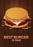 Lunch med hamburgaren Snabbmataffisch också vektor för coreldrawillustration vektor illustrationer
