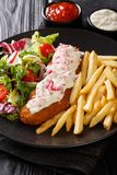 Lunch menu fried pollock with french fries and fresh salad close-up on a plate and sauce. vertical stock images
