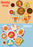 Lunch menu icon set with main dishes and dessert. Lunch with dessert icon of pasta with tomato, sausage and cheese, vegetable and fish soups, seafood and lentil Stock Photo