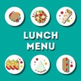 Lunch menu, modern flat icon Royalty Free Stock Photo