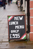 Lunch menu sign outside restaurant Royalty Free Stock Image
