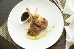 Lunch menu with steaks, lamb. Royalty Free Stock Photos