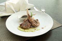 Lunch menu with steaks, lamb. Stock Image