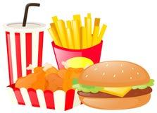 Lunch met hamburger en gebraden gerechten wordt geplaatst dat royalty-vrije illustratie