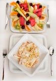 Lunch met spaghetticarbonara Stock Fotografie