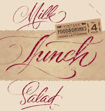 LUNCH / MILK / SALAD hand lettering (vector) Stock Photo