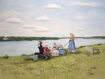 Lunch break during mowing. Oil painting of people having lunch break during grass mowing Royalty Free Stock Photography