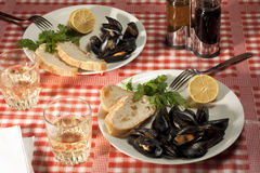 Lunch with Mussels Stock Photos