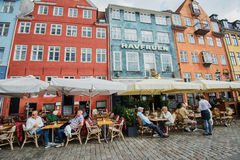 Lunch in Nyhavn, Copenhagen Royalty Free Stock Images