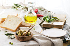 Lunch with olives Stock Images