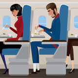 Lunch op het vliegtuig Stock Fotografie