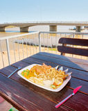 Lunch in outdoor restaurant next to Berg river Stock Photography